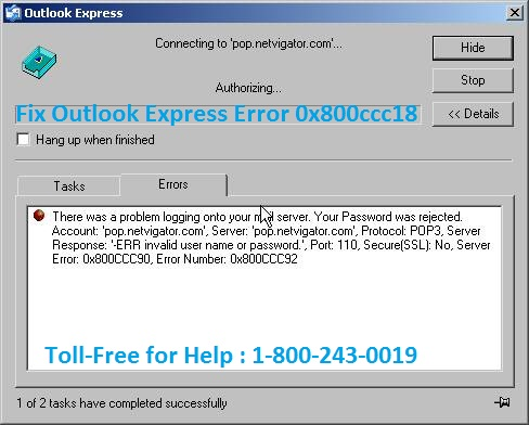 How To Fix Outlook Express Error 0x800ccc18